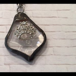 Large Crystal necklace with a Crown jewel on top